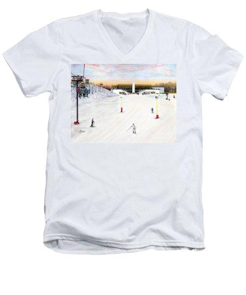 Men's V-Neck T-Shirt featuring the painting Sundial Lodge At Nemacolin Woodlands Resort by Albert Puskaric