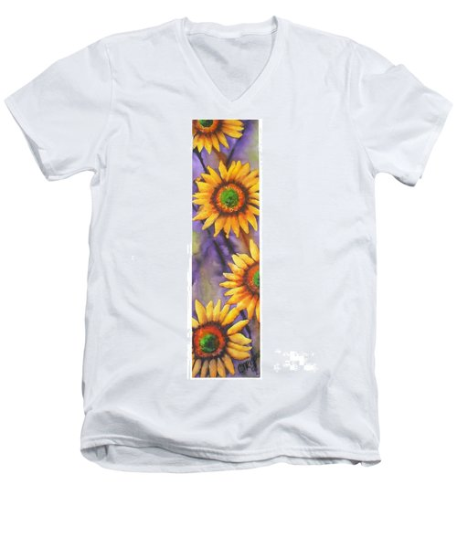Men's V-Neck T-Shirt featuring the painting Sunflower Abstract  by Chrisann Ellis