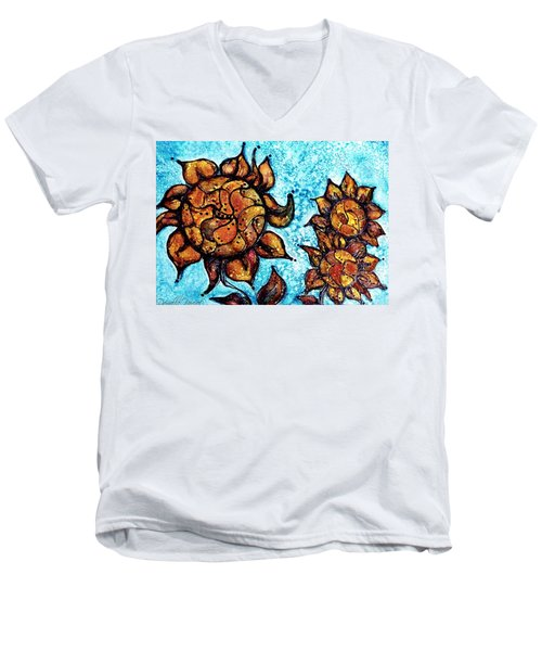 Sunflower Patchwork Delight Alcohol Inks Men's V-Neck T-Shirt