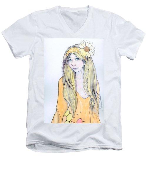 Sunflower Sara Men's V-Neck T-Shirt by Jimmy Adams