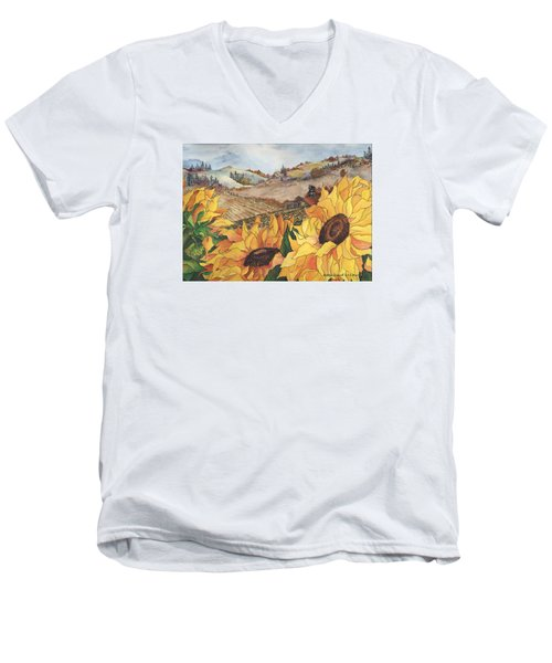 Sunflower Serenity Men's V-Neck T-Shirt