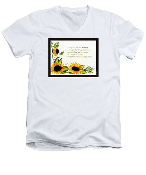Sunflowers And Serenity Prayer Men's V-Neck T-Shirt by Barbara Griffin