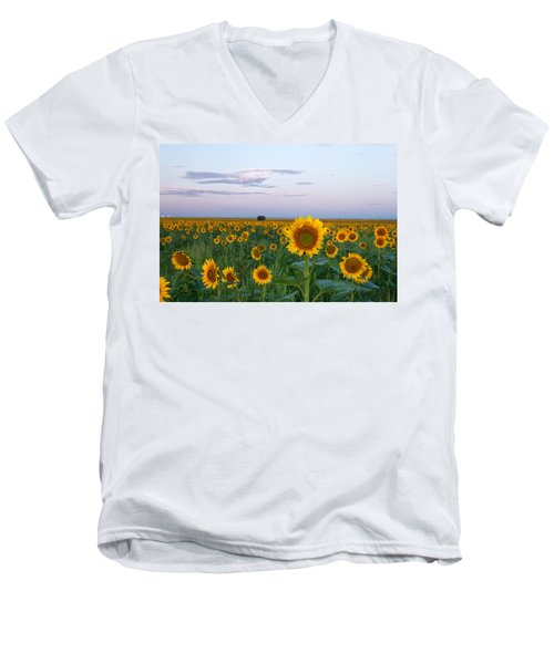 Sunflowers At Sunrise Men's V-Neck T-Shirt by Ronda Kimbrow