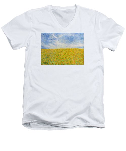 Sunflowers  Field In Texas Men's V-Neck T-Shirt