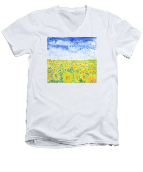 Sunflowers In A Field In  Texas Men's V-Neck T-Shirt