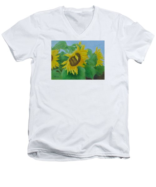 Sunflowers In The Wind Colorful Original Sunflower Art Oil Painting Artist K Joann Russell           Men's V-Neck T-Shirt by Elizabeth Sawyer