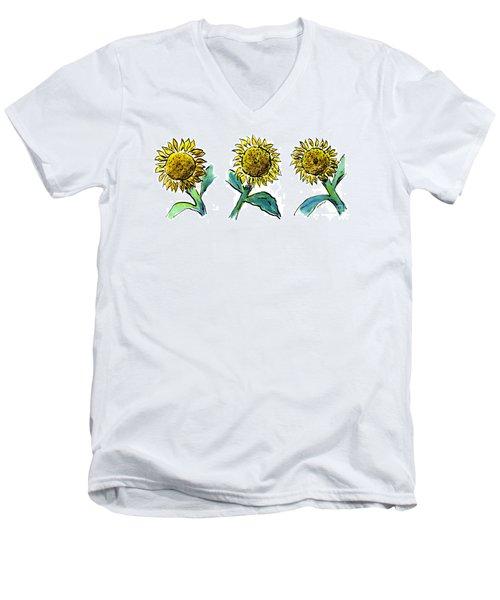 Sunflowers Trio Men's V-Neck T-Shirt