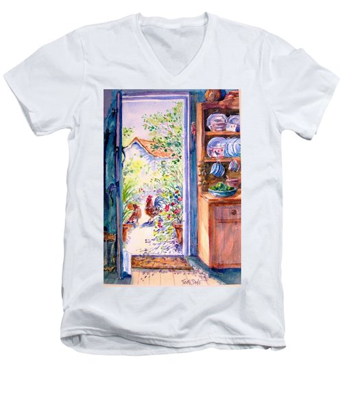 Sunlit Cottage Doorway  Men's V-Neck T-Shirt by Trudi Doyle