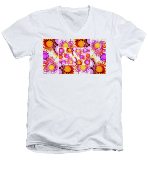 Sunny Happy Abstract Alcohol Inks Collage Men's V-Neck T-Shirt
