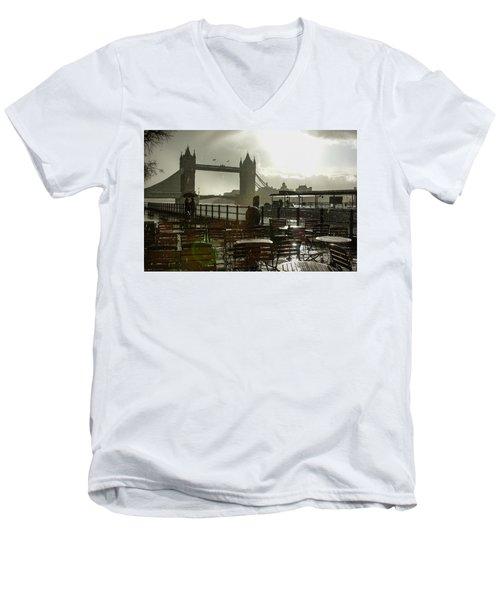 Sunny Rainstorm In London England Men's V-Neck T-Shirt