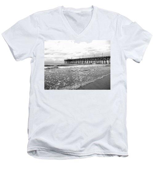 Men's V-Neck T-Shirt featuring the photograph Sunrise At Surfside Bw by Barbara McDevitt