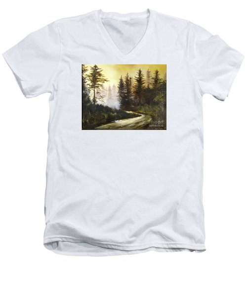 Sunrise In The Forest Men's V-Neck T-Shirt by Lee Piper