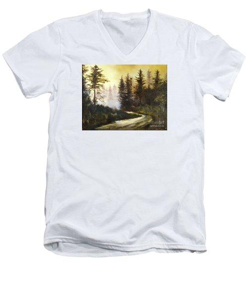 Sunrise In The Forest Men's V-Neck T-Shirt