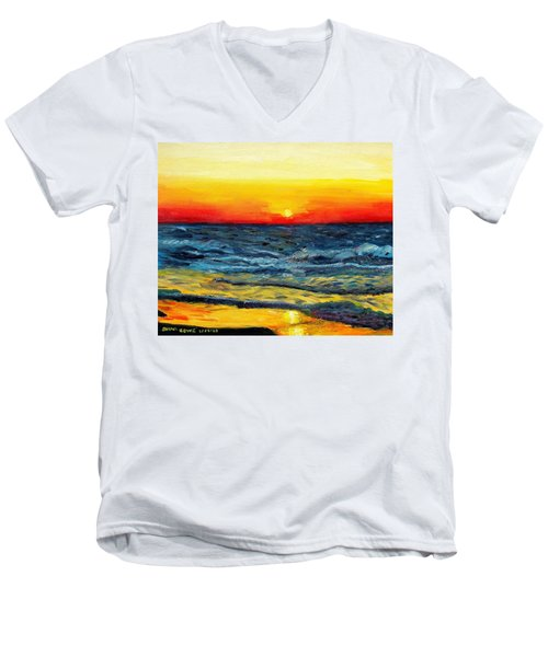 Men's V-Neck T-Shirt featuring the painting Sunrise Over Paradise by Shana Rowe Jackson