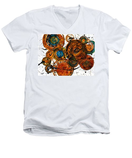 Men's V-Neck T-Shirt featuring the painting Sunset - 1274.121412 by Kris Haas