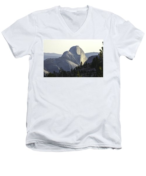 Sunset At Half Dome From Olmsted Pt Men's V-Neck T-Shirt