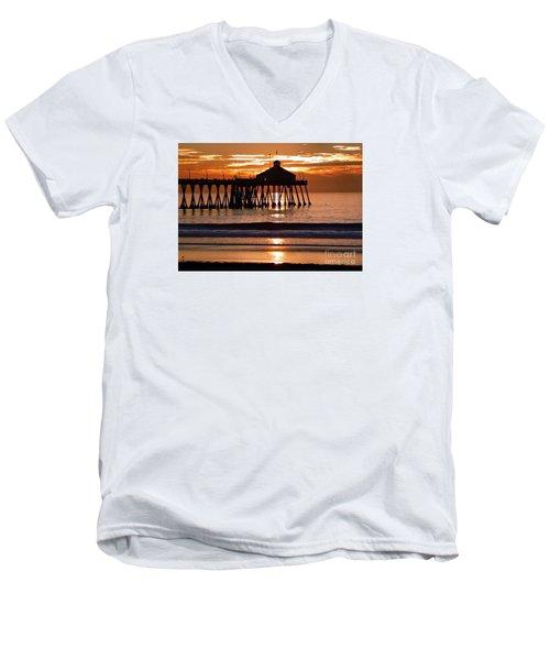 Sunset At Ib Pier Men's V-Neck T-Shirt by Barbie Corbett-Newmin