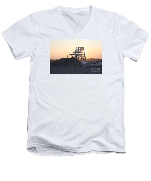 Sunset At Jones Beach Men's V-Neck T-Shirt by John Telfer