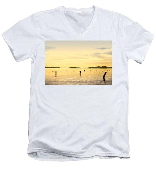 Men's V-Neck T-Shirt featuring the photograph Sunset At Lake Muskoka by Les Palenik