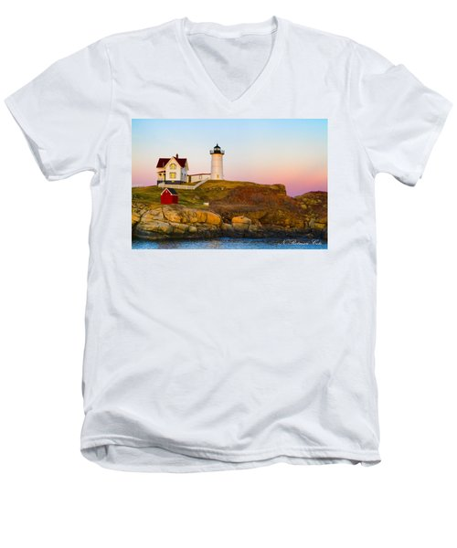 Sunset At Nubble Lighthouse Men's V-Neck T-Shirt