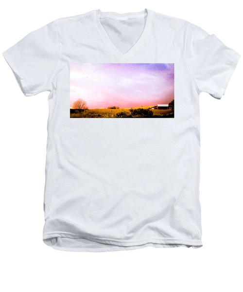 Men's V-Neck T-Shirt featuring the photograph Sunset At The Farm by Sara Frank