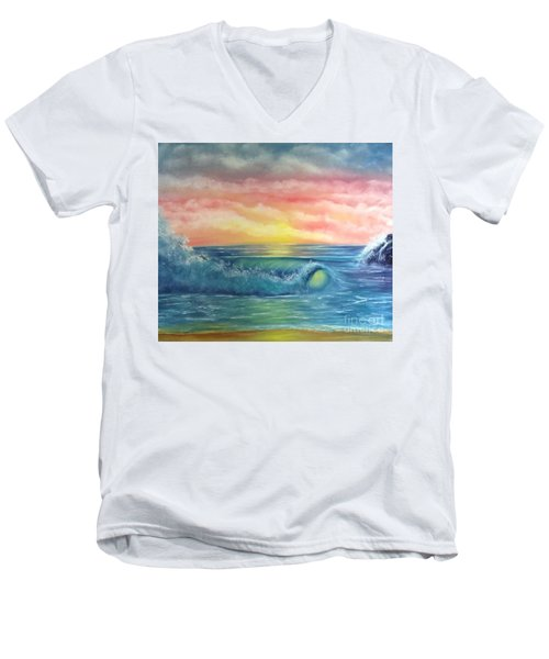 Sunset At The Seashore  Men's V-Neck T-Shirt by Becky Lupe