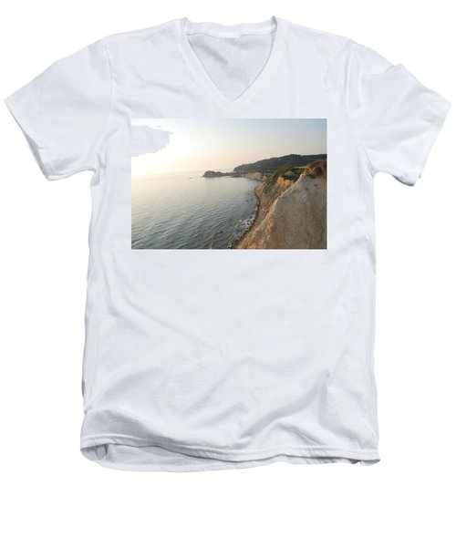 Men's V-Neck T-Shirt featuring the photograph Sunset Gourna by George Katechis