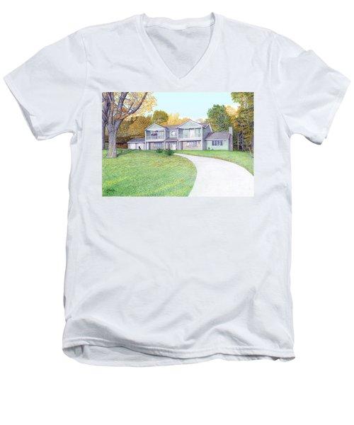 Sunset House In Fall Men's V-Neck T-Shirt