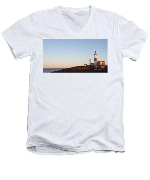 Sunset Over Montauk Lighthouse Men's V-Neck T-Shirt by John Telfer