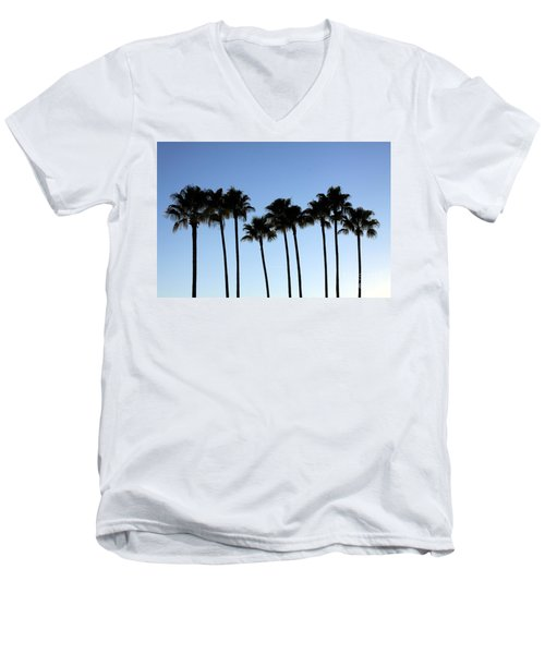 Men's V-Neck T-Shirt featuring the photograph Sunset Palms by Chris Thomas