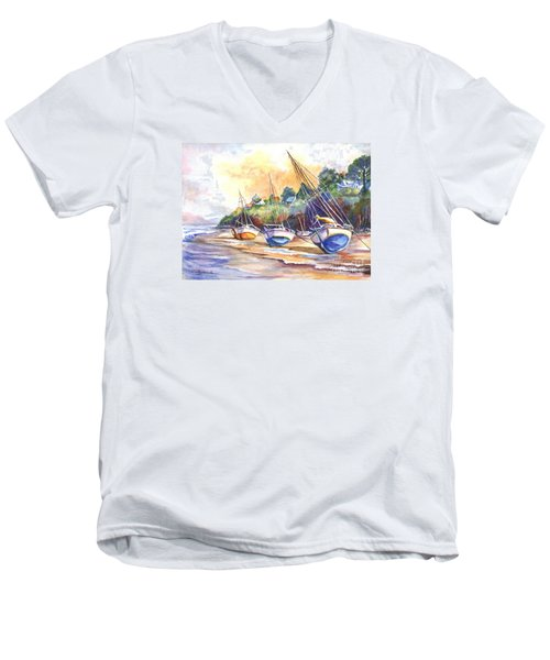 Men's V-Neck T-Shirt featuring the painting Sunset Sail On Brittany Beach  by Carol Wisniewski