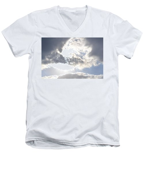 Men's V-Neck T-Shirt featuring the photograph Sunshine Through The Clouds by Tara Potts
