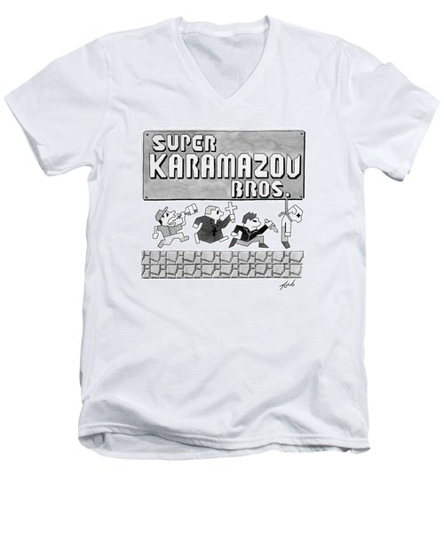 Super Karamazov Bros. -- A Parody Of Mario Men's V-Neck T-Shirt