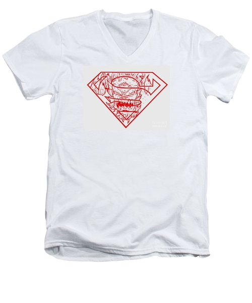 Men's V-Neck T-Shirt featuring the drawing Superman And Doomsday Red by Justin Moore