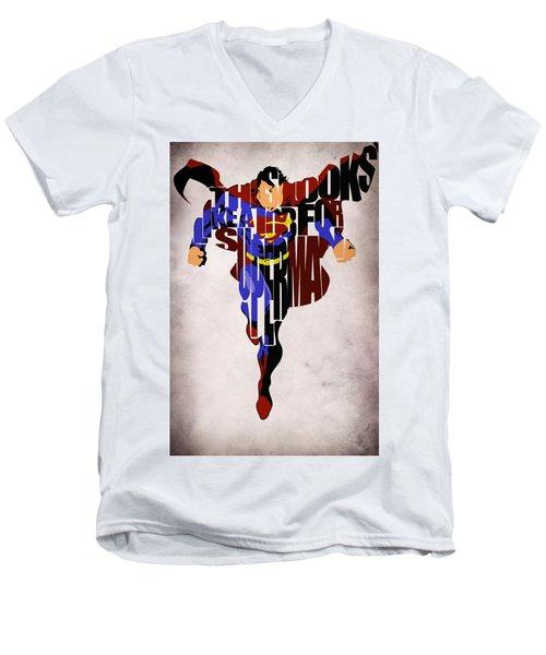 Superman - Man Of Steel Men's V-Neck T-Shirt by Ayse Deniz