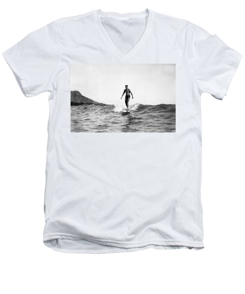 Surfing At Waikiki Beach Men's V-Neck T-Shirt