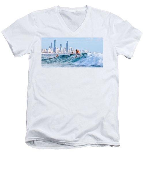 Surfing Burleigh Men's V-Neck T-Shirt