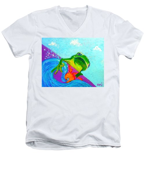 Surfing Froggie Men's V-Neck T-Shirt