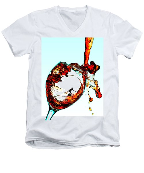 Surfing In A Cup Of Wine Little People On Food Men's V-Neck T-Shirt