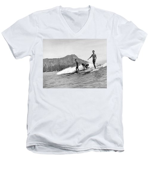 Surfing In Honolulu Men's V-Neck T-Shirt