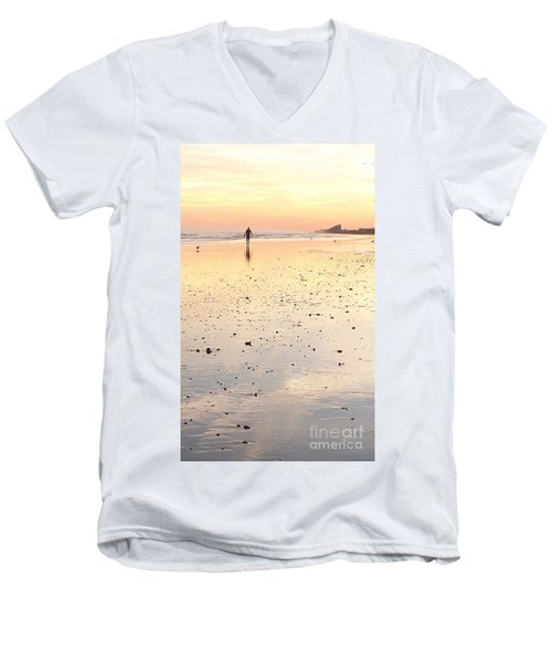 Surfing Sunset Men's V-Neck T-Shirt by Eric  Schiabor