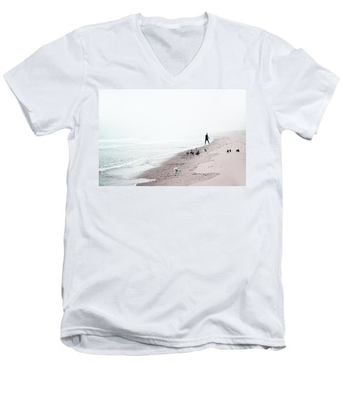 Surfing Where The Ocean Meets The Sky Men's V-Neck T-Shirt by Brooke T Ryan