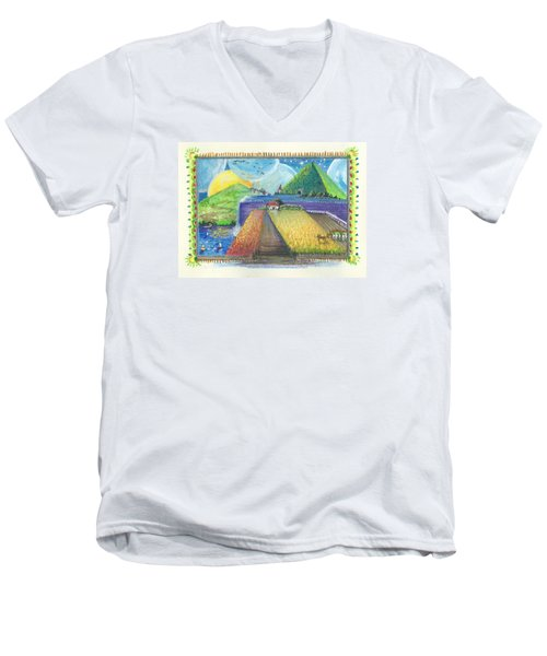 Men's V-Neck T-Shirt featuring the painting Surreal Landscape 1 by Christina Verdgeline