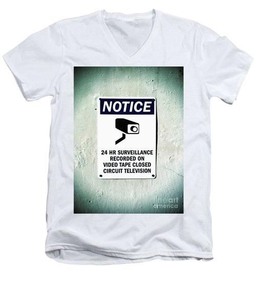 Surveillance Sign On Concrete Wall Men's V-Neck T-Shirt