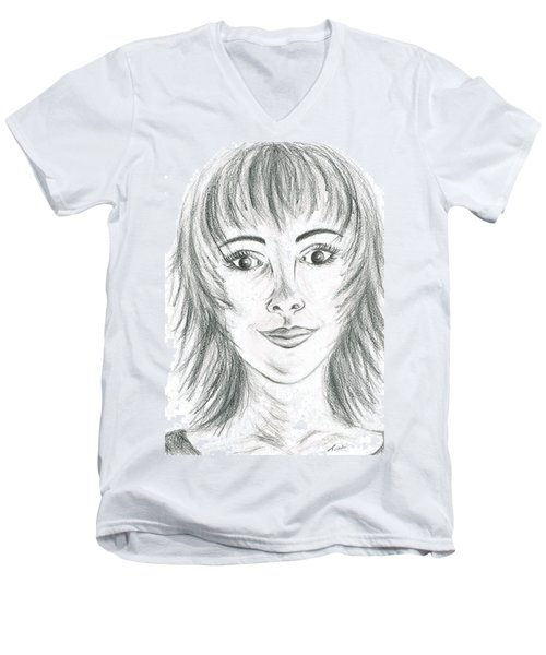 Men's V-Neck T-Shirt featuring the drawing Portrait Stunning by Teresa White