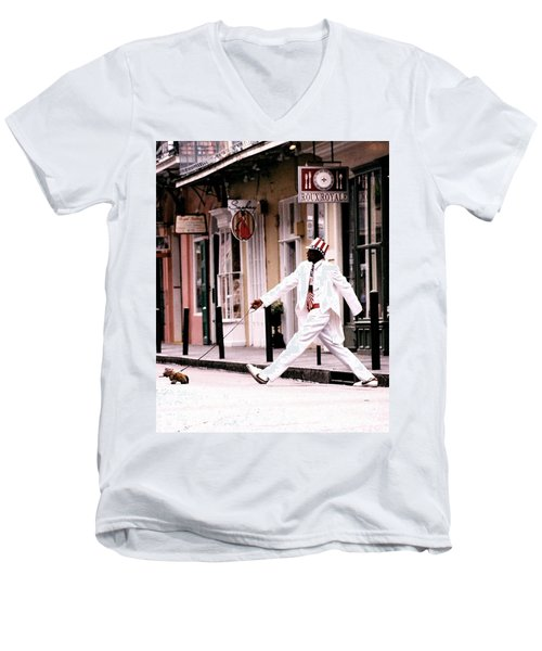 New Orleans Suspended Animation Of A Mime Men's V-Neck T-Shirt