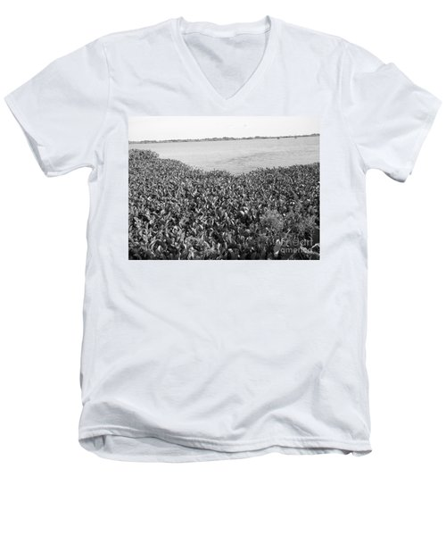 Men's V-Neck T-Shirt featuring the photograph Swamp Hyacinths Water Lillies Black And White by Joseph Baril