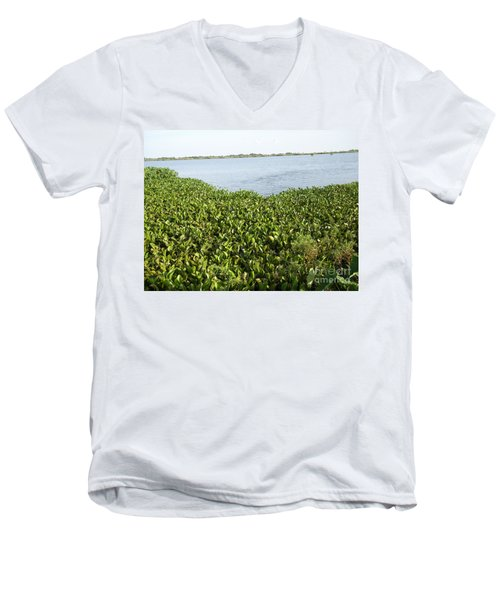 Swamp Hyacinths Water Lillies Men's V-Neck T-Shirt by Joseph Baril