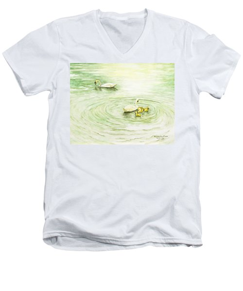 Swans In St. Pierre Men's V-Neck T-Shirt
