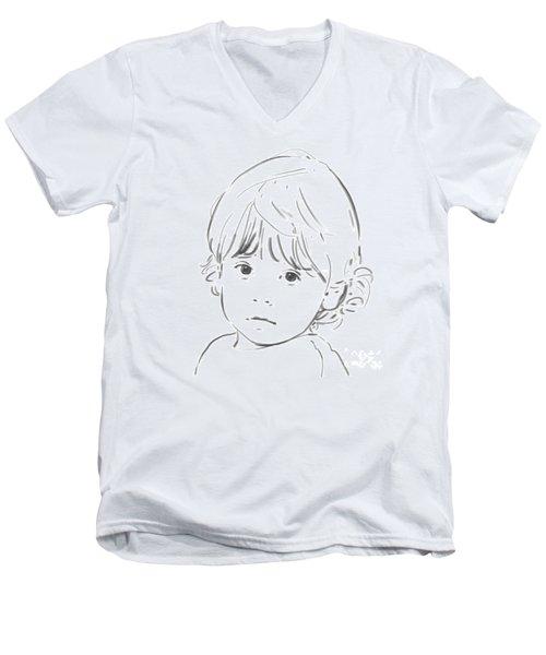 Men's V-Neck T-Shirt featuring the drawing Sweet Girl by Olimpia - Hinamatsuri Barbu